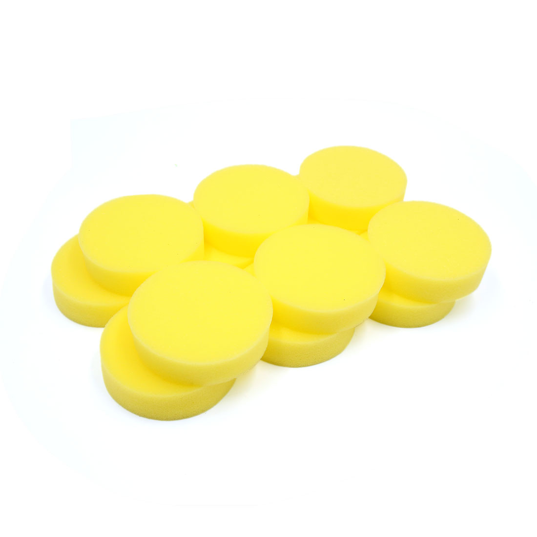 12pcs Yellow Round Shaped Cleaner Cleaning Tool Washing Sponge for Car Home
