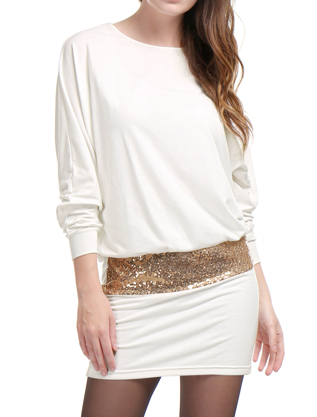 Allegra K Women Batwing Sleeves Sequins Accent Blouson Mini Dress White M