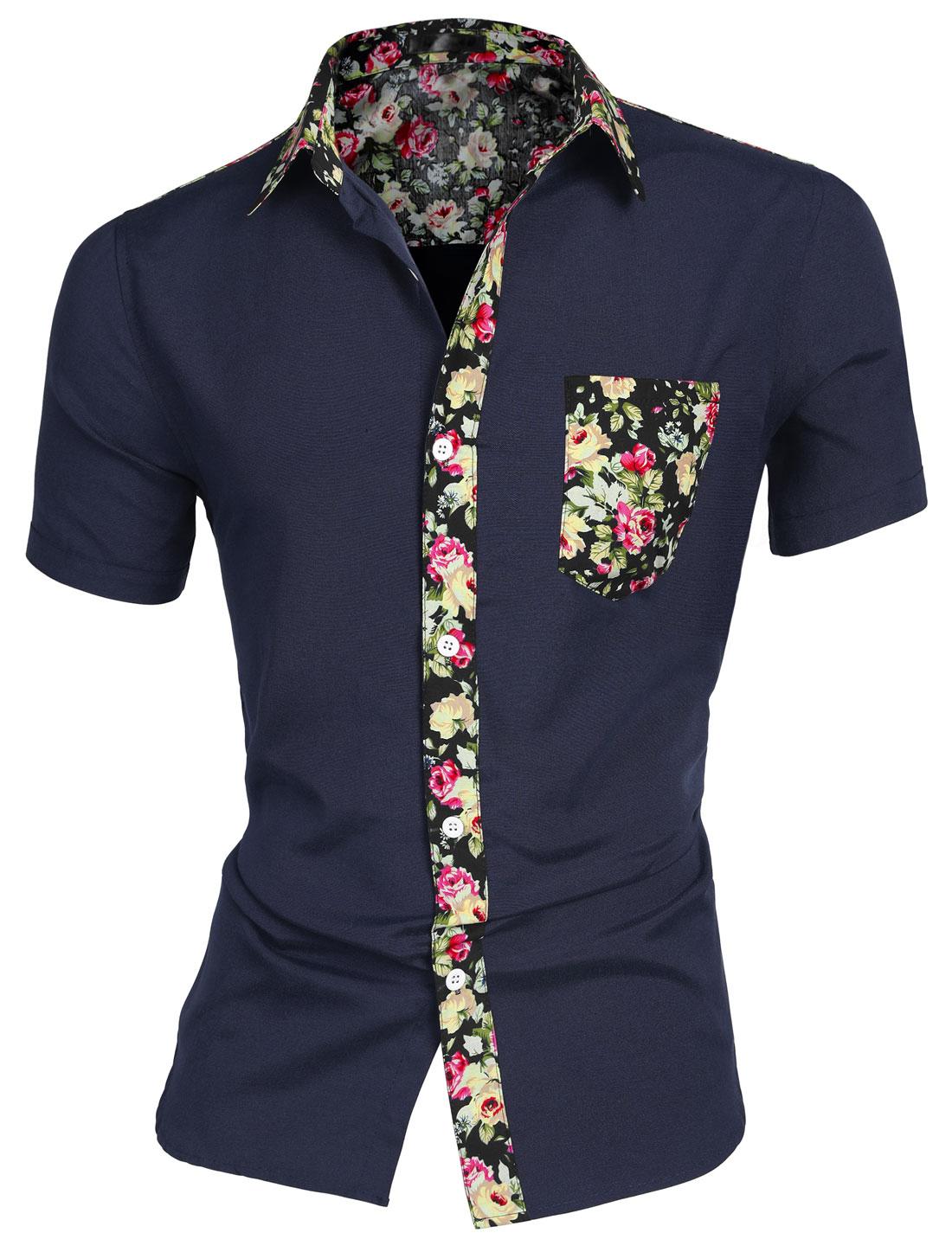 Men Floral Pocket Short Sleeve Button Down Casual Hawaiian Shirt Navy Blue M