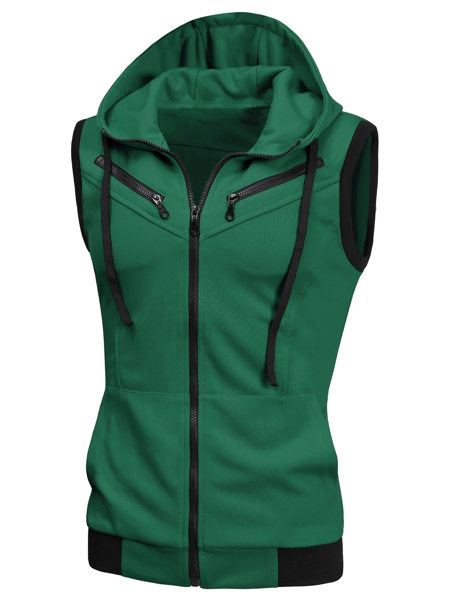 Men Ribbed Hem Two Pockets Drawstring Hooded Vest Green M