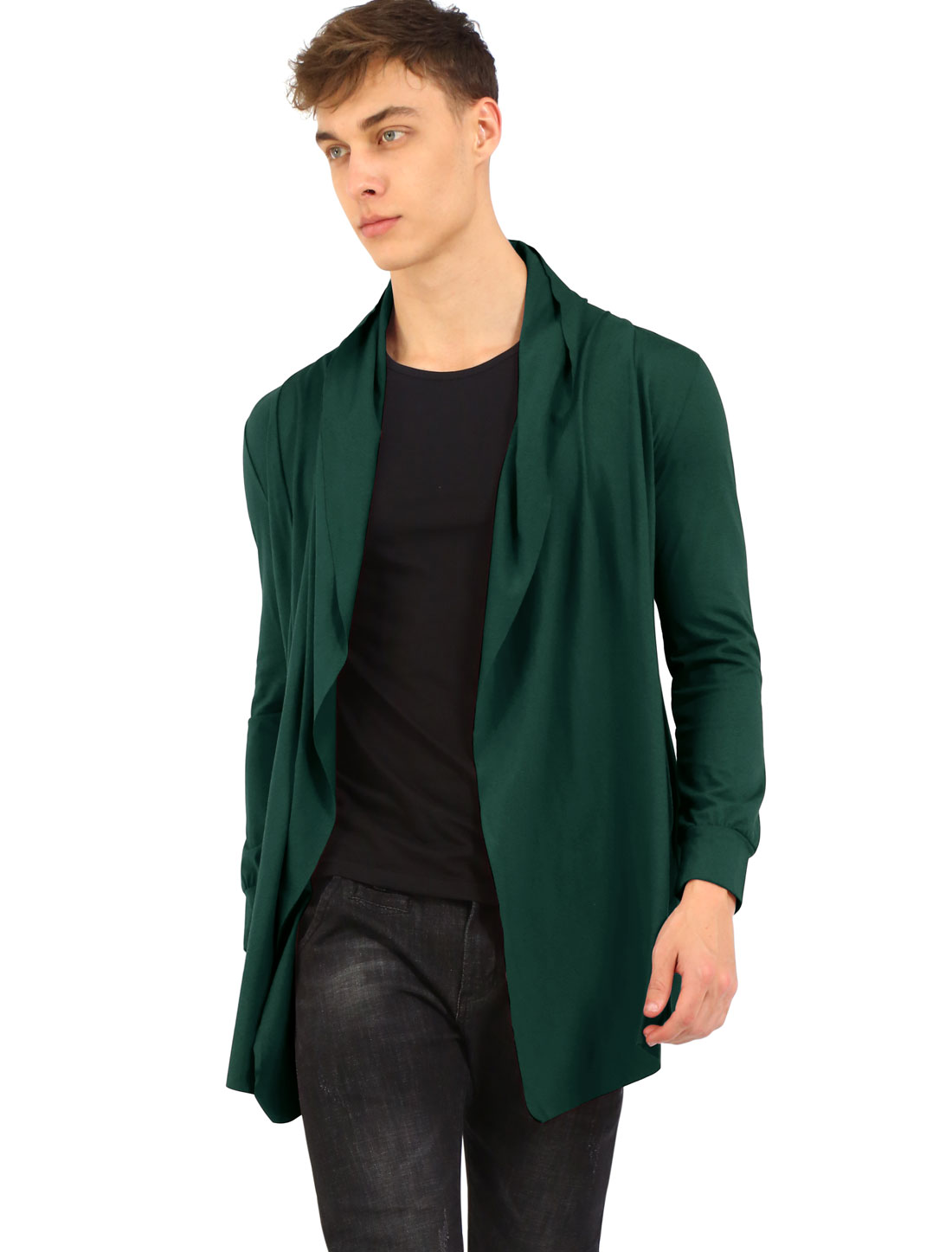 Men Front Open Side Pockets Irregular Hem Leisure Long Cardigan Green M