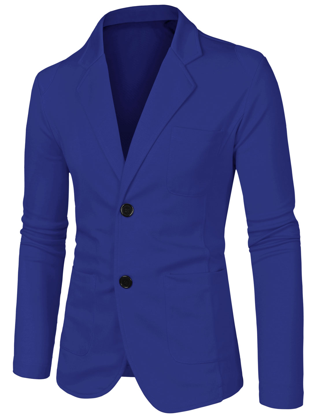 Men Notched Lapel Solid Color Long Sleeve Knit Blazer Royal Blue 38