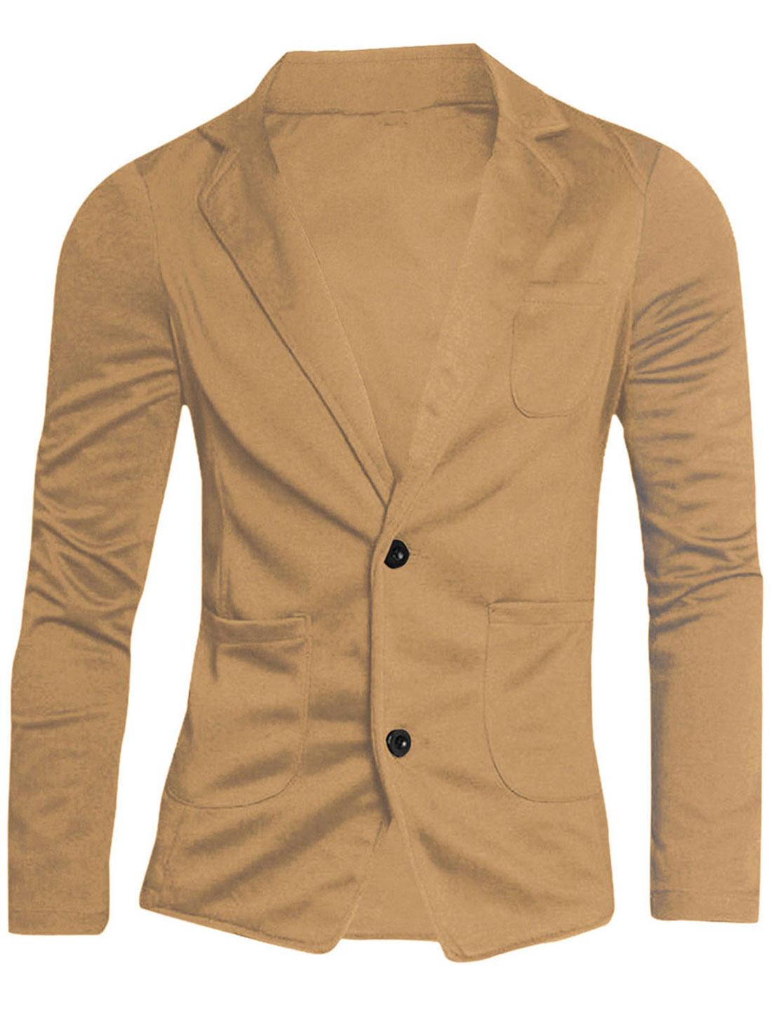 Men Notched Lapel Solid Color Long Sleeve Knit Blazer Beige 36