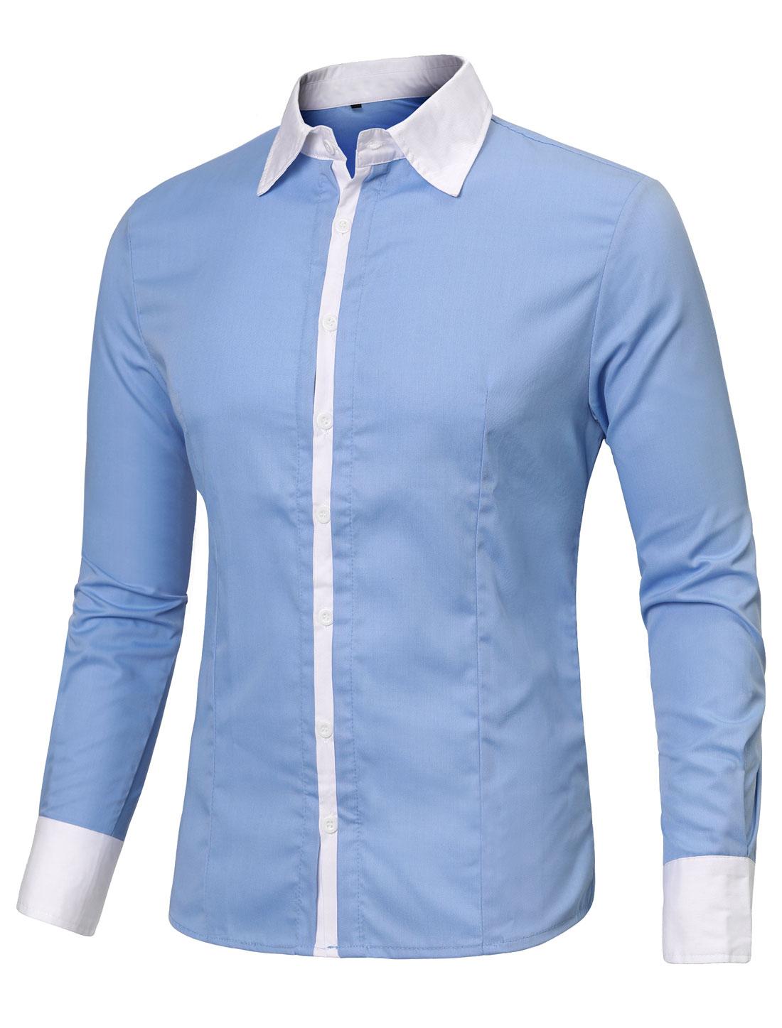 Men Buttons Up Closure Point Collar Fashion Top Shirt Sky Blue M