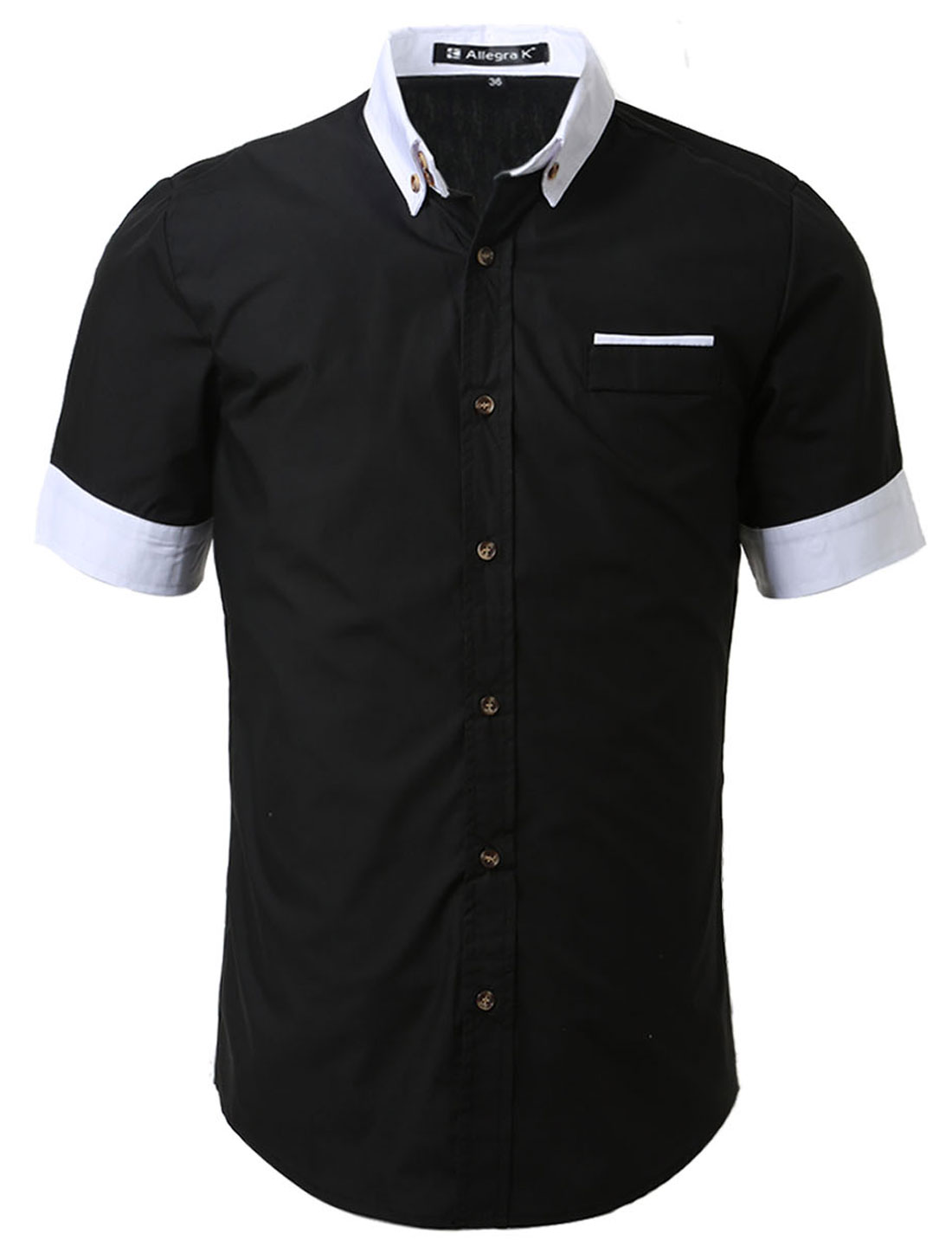 Men Color Block Casual Pocket Button Down Short Sleeve Slim Fit Shirt Black XL