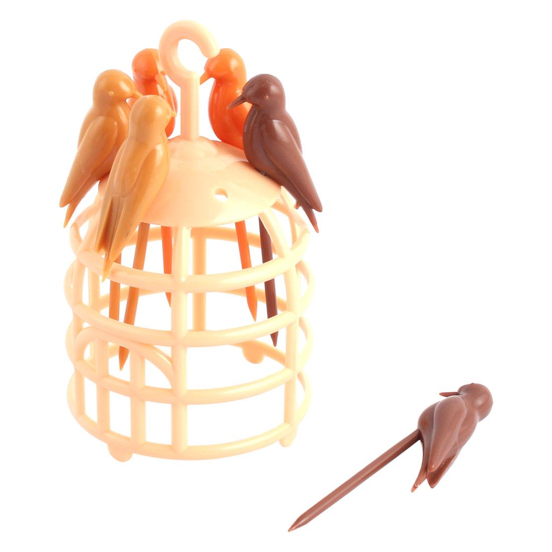 Plastic Birds Cage Shape Fruit Fork Holder Dessert Cake Decor Forks Light Yellow Set