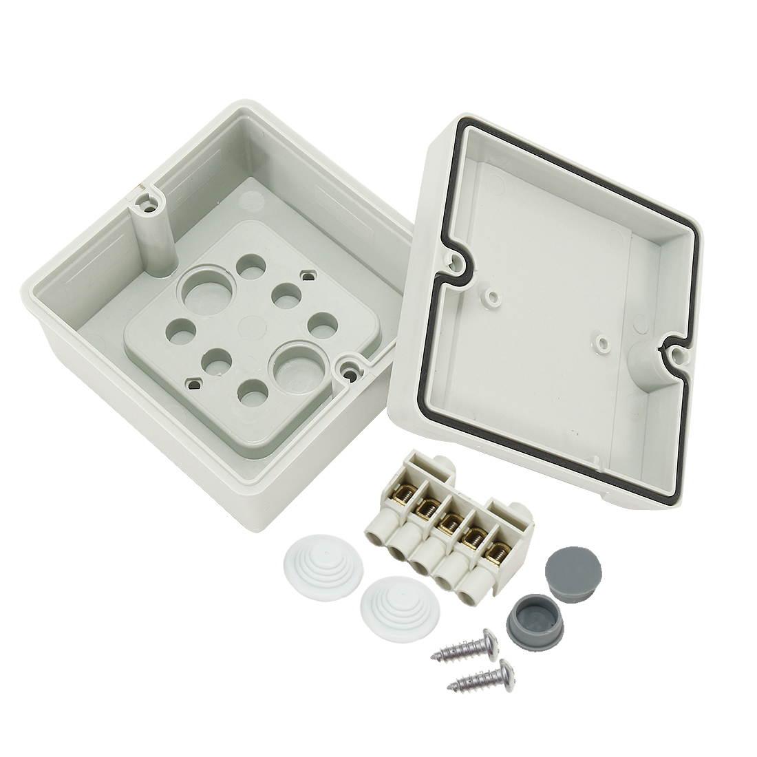 "3.5""x3.5""x2.1""(88mmx88mmx53mm) ABS Flame Retardant Dustproof IP66 Junction Box Universal Project Enclosure w 5Terminal"