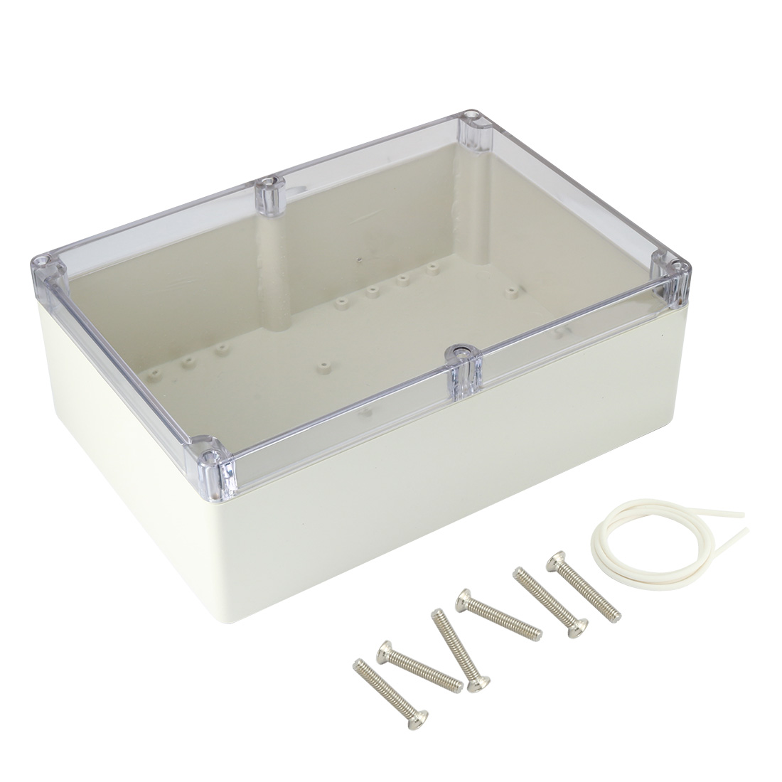 "10.4""x7.2""x3.74""(263mmx182mmx95mm) ABS Junction Box Universal Project Enclosure w PC Transparent Cover"