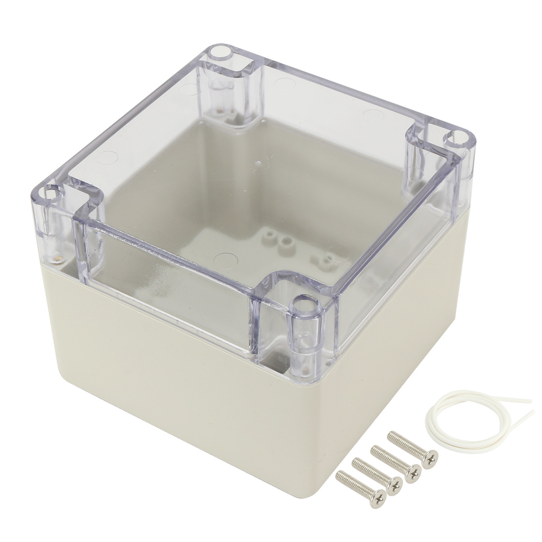"""4.7""""x4.7""""x3.5""""(120mmx120mmx90mm) ABS Junction Box Universal Project Enclosure w PC Transparent Cover"""