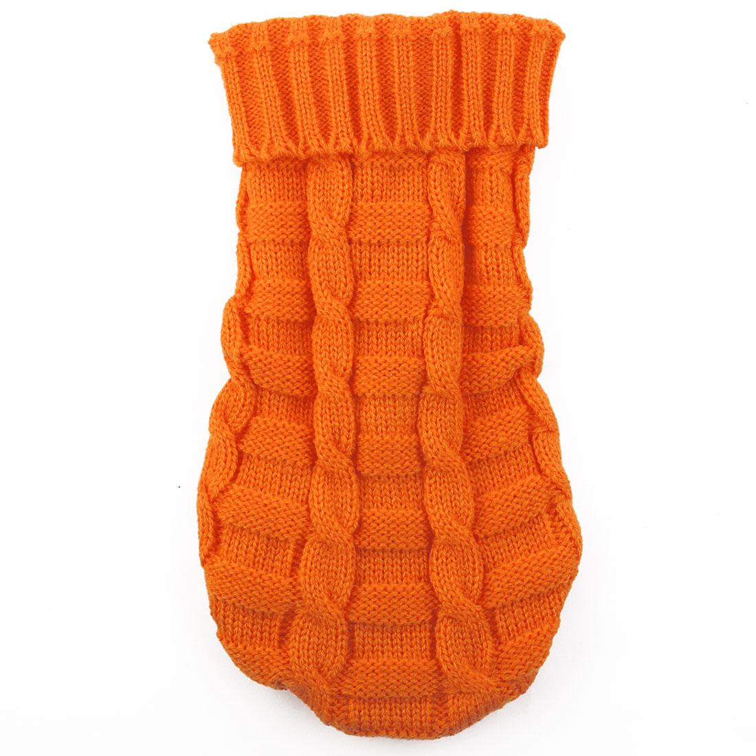 Pet Cat Woolen Grid Pattern Knitted Winter Warm Sweater Coat Clothes Apparel Costume Orange L