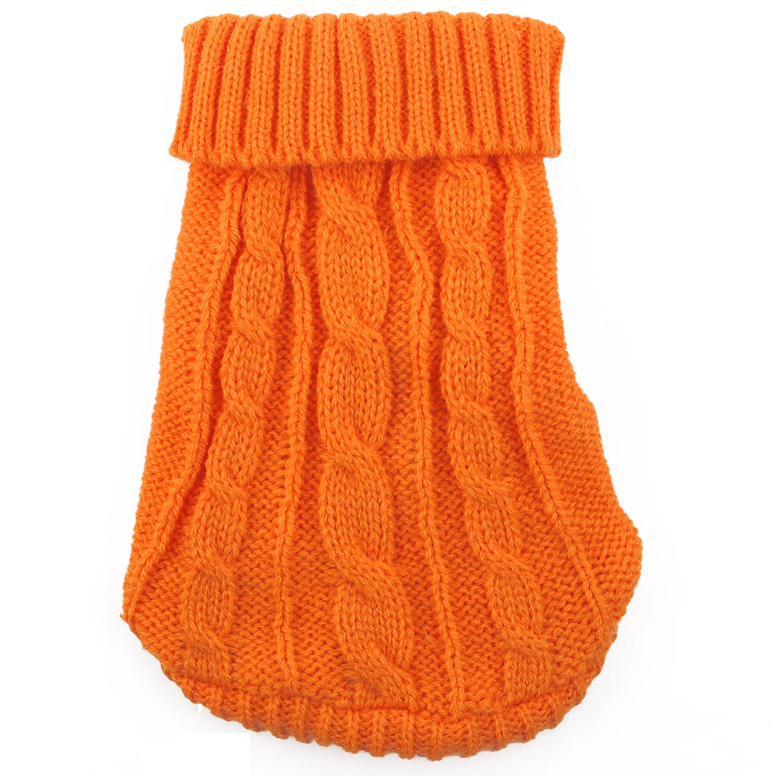 Pet Cat Woolen Grid Pattern Knitted Winter Warm Sweater Coat Clothes Apparel Costume Orange M