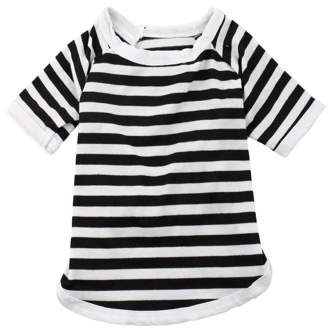 Pet Cat Cotton Blend Summer Coat Clothes T-shirt Apparel Costume Black White XL