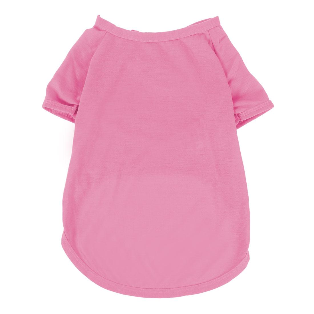 Pet Dog Cotton Blend Leisure Short Sleeve T-Shirt Vest Clothes Pink Size XL