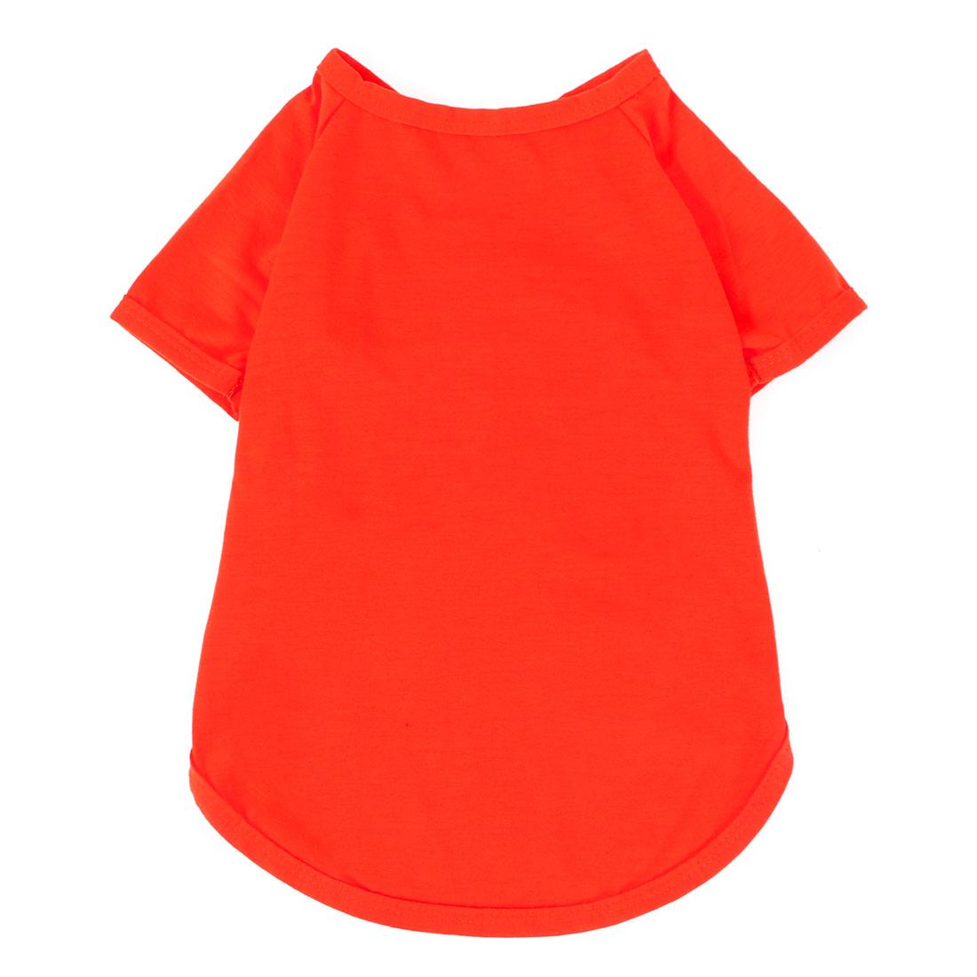 Pet Doggy Cotton Blend Leisure Short Sleeve T-Shirt Vest Clothes Red Size M