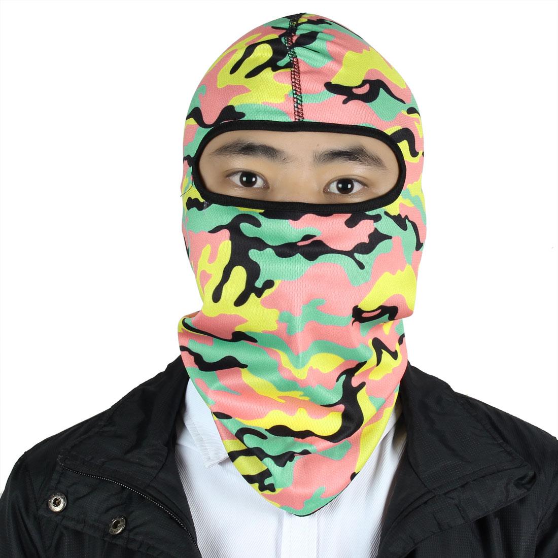 Motorcycle Lycra Camouflage Pattern Full Face Balaclava Hood Cap Multicolor