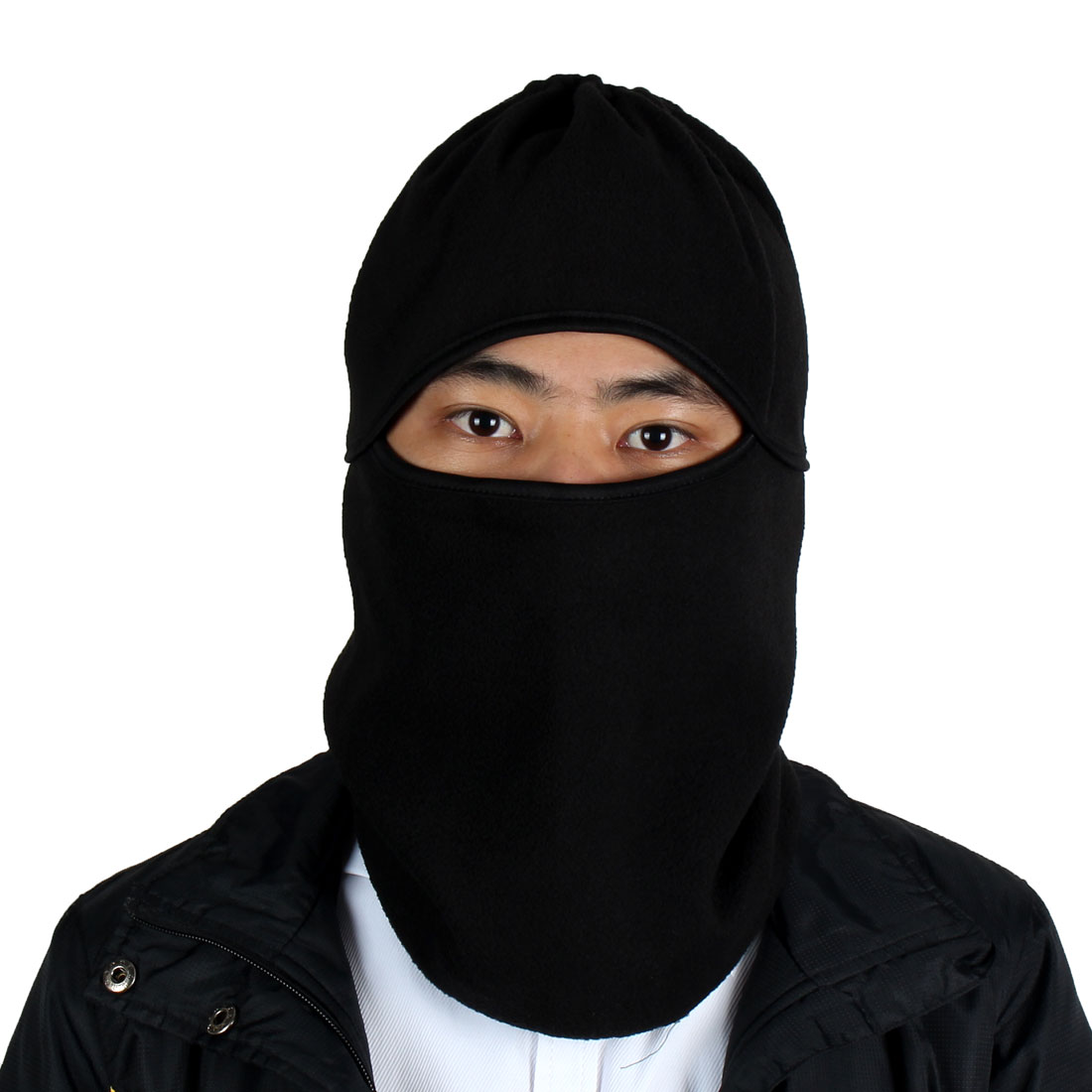 Outdoor Sports Fleece Full Face Mask Cover Neck Protecting Hood Balaclava Black