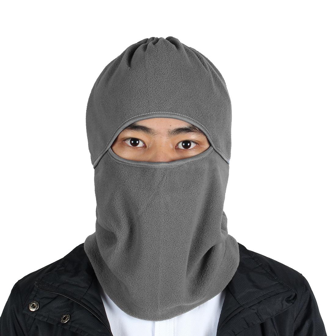 Outdoor Sports Fleece Full Face Mask Cover Neck Protecting Hood Balaclava Gray
