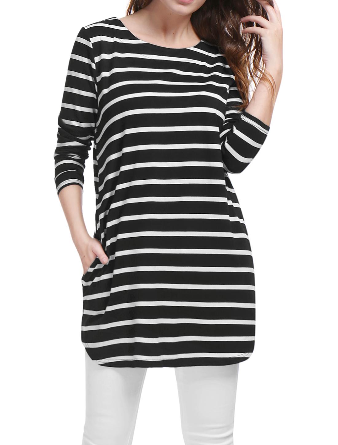 Allegra K Women Stripes Long Sleeves Pockets Loose Tunic Top Black L