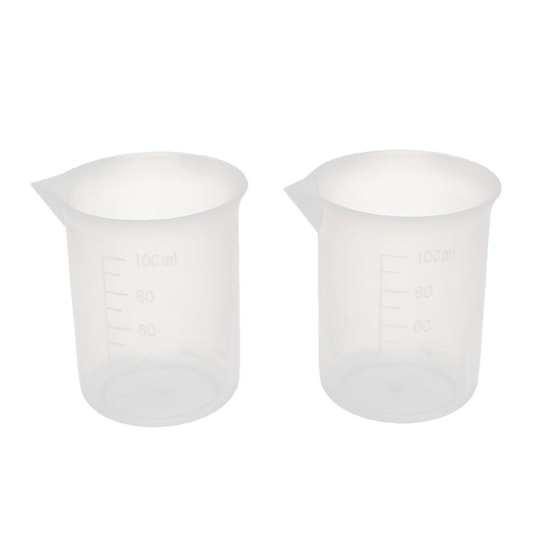 2Pcs 100ml Laboratory Transparent Plastic Liquid Container Measuring Cup Beaker