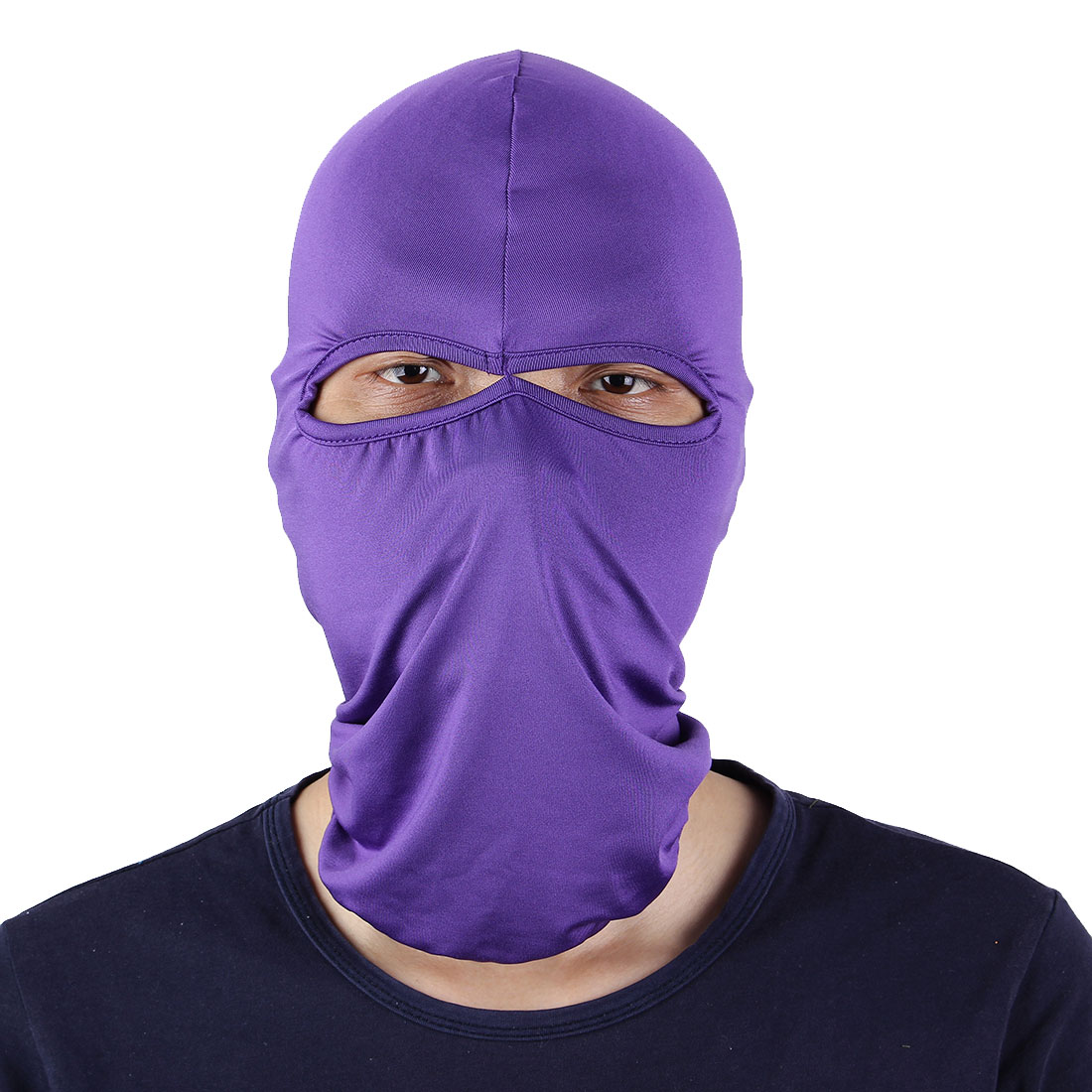 Motorcycle Two Holes Full Face Cover Neck Protecting Balaclava Hat Purple