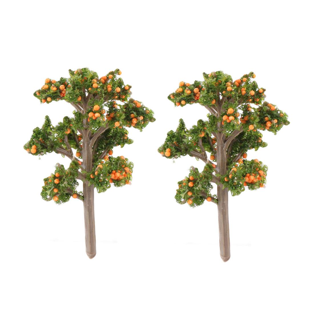 Family Decor Resin DIY Craft Artificial Plant Tree Bonsai Landscape Orange 2 Pcs