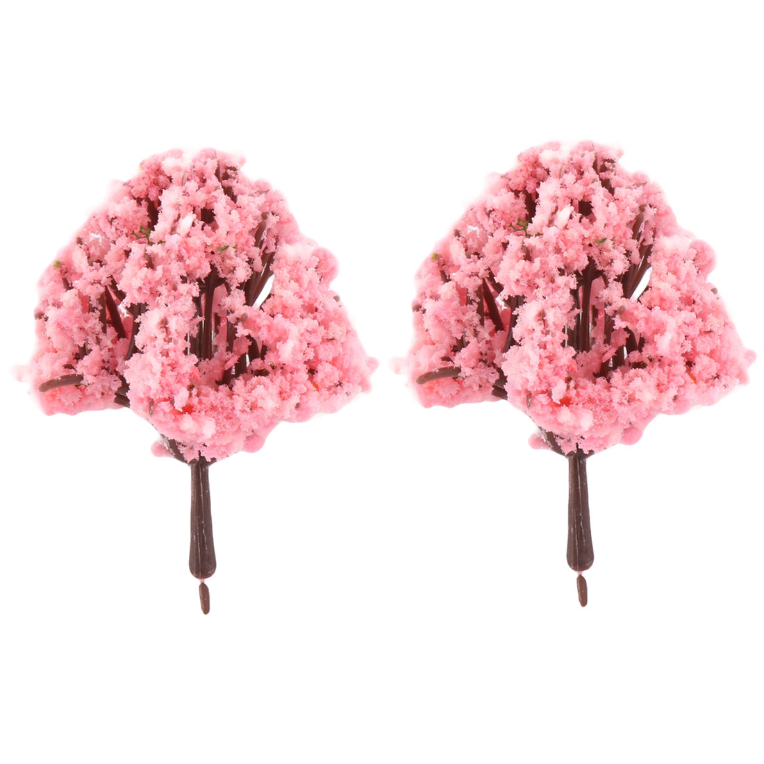 Household Garden Decor Resin Artificial Plant Tree Bonsai Landscape Pink 2 Pcs