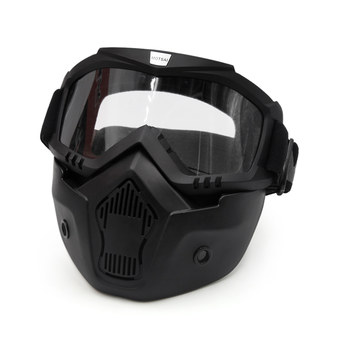 Motorcycle Black Plastic Goggles Face Dust Mask Detachable Mouth Filter