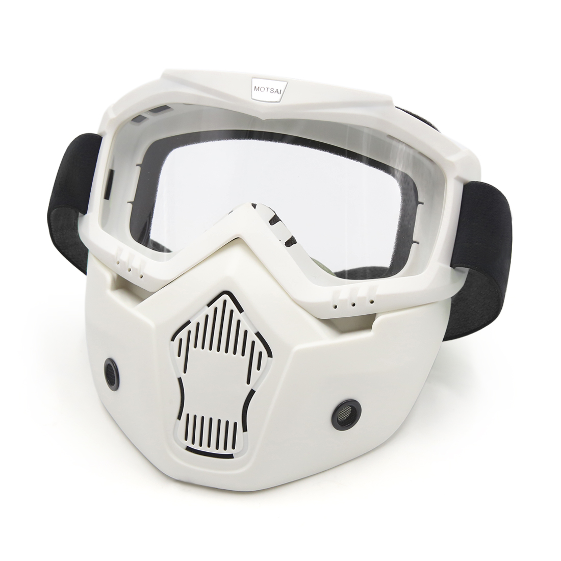 White Plastic Goggles Face Dust Mask Detachable Mouth Filter for Motorcycle