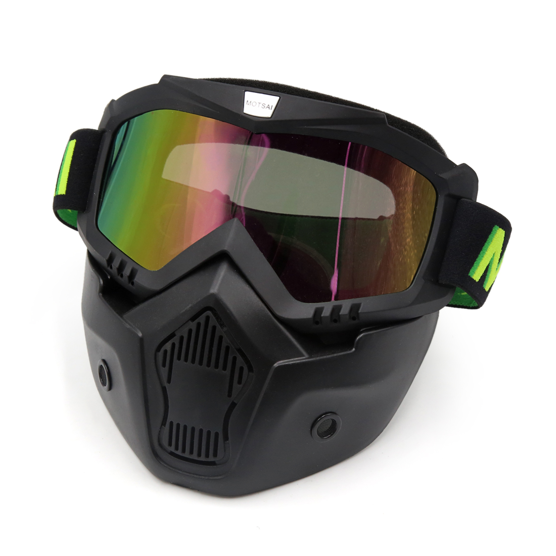 Black Plastic Goggles Face Dust Mask Detachable Mouth Filter for Motorcycle