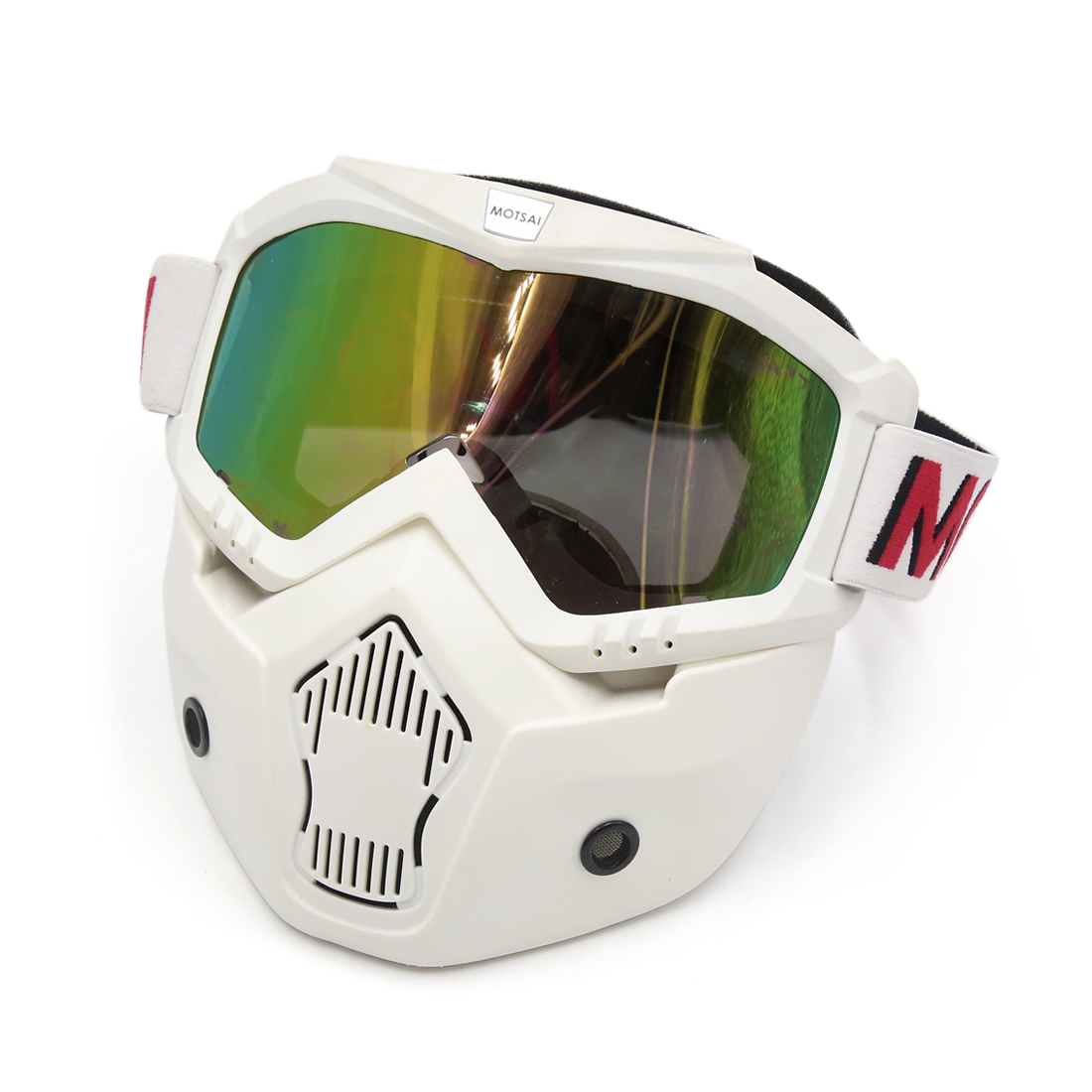 Motorcycle White Plastic Goggles Face Dust Mask Detachable Mouth Filter