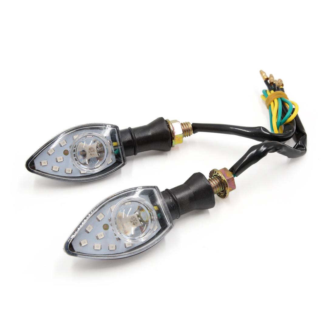 2Pcs Universal Motorcycle Green 13 LED Turn Signal Indicator Light Lamp