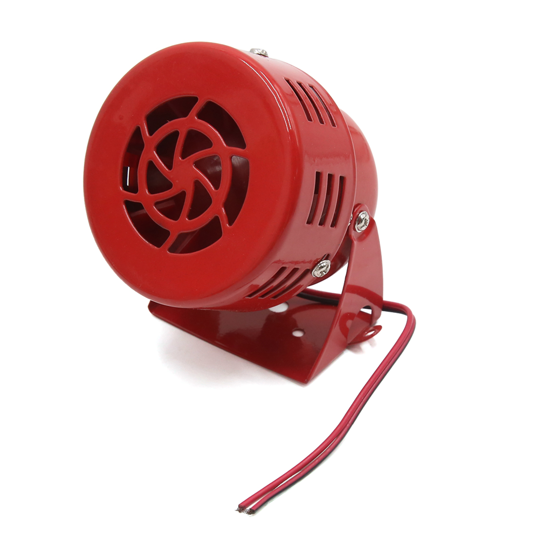 Red Metal Universal Motorcycle Electric Driven Air Siren Horn Alarm Loud DC 12V
