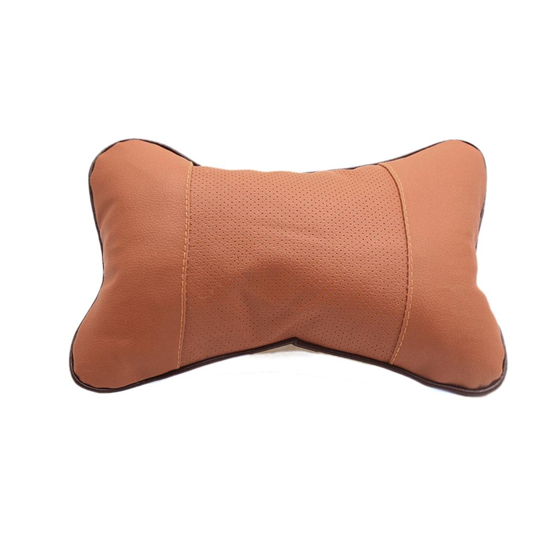 Brown Faux Leather Bone Shape Car Seat Headrest Pillow Neck Rest Cushion