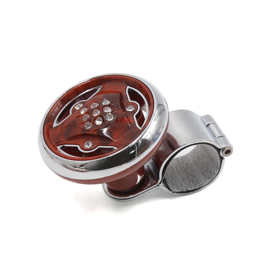Car Vehicle Rhinestone Decor Steering Wheel Spinner Knob Power Handle Brown Silver Tone