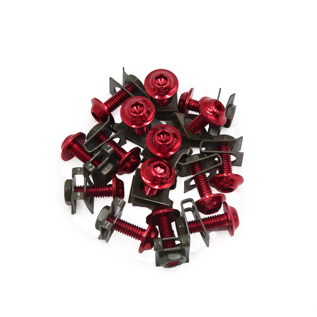 15 Pcs Red Black Motorcycle Hexagon Bolts Hex Trad Screws w Metal Holder