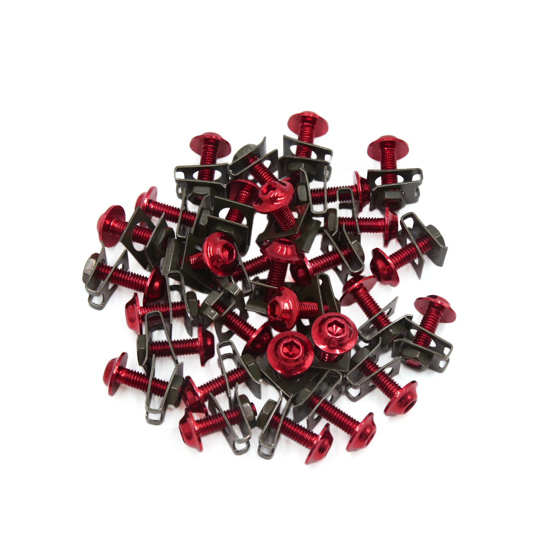 30 Pcs Red Black Motorcycle Hexagon Bolts Hex Trad Screws w Metal Holder