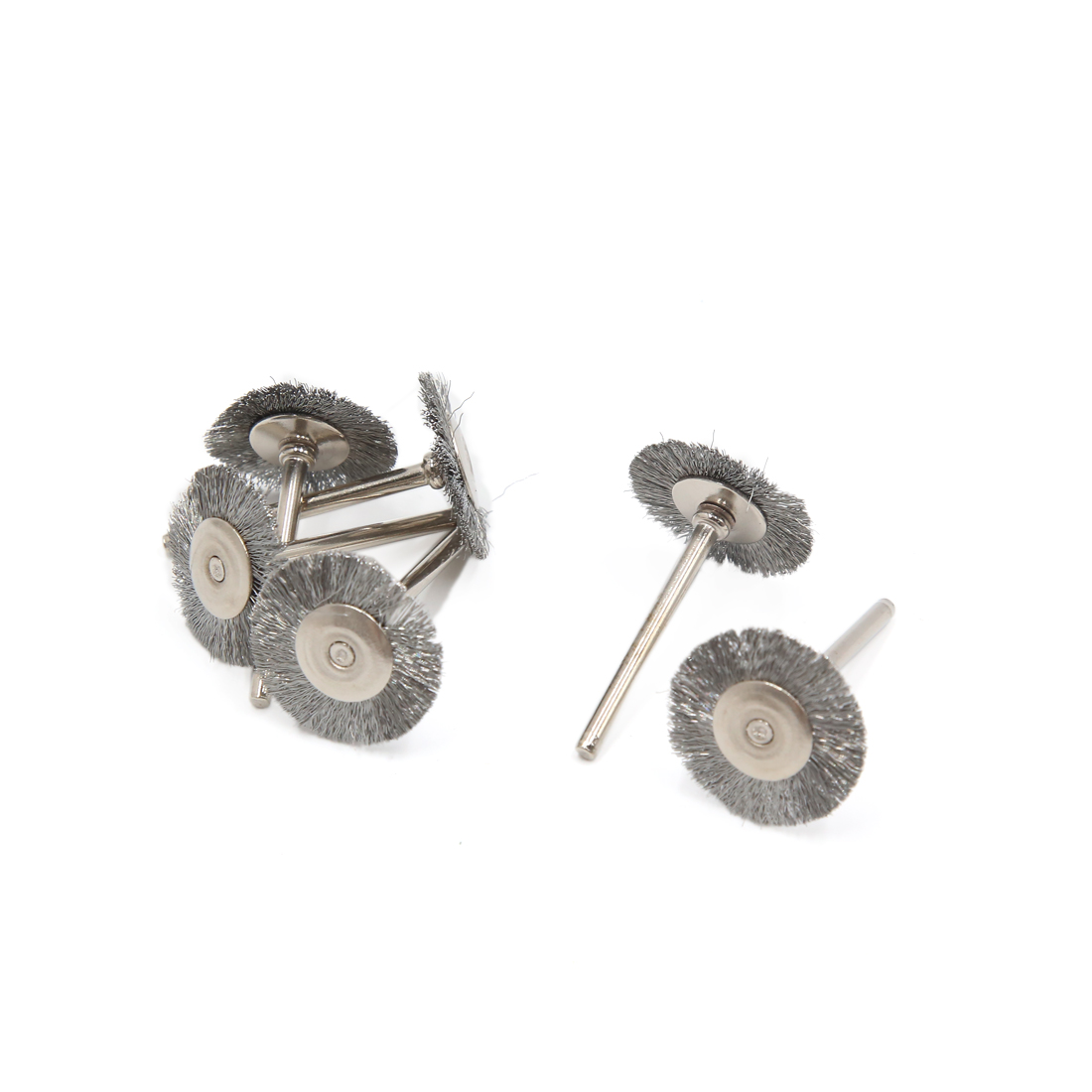 6 Pcs Stainless Steel T Type Wire Brush Polishing Wheels Full for Rotary Tools