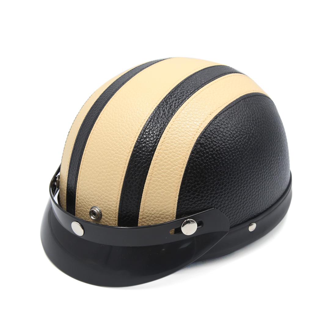 Black Beige Faux Leather Coated Motorcycle Adjustable Nylon Strap Half Helmet