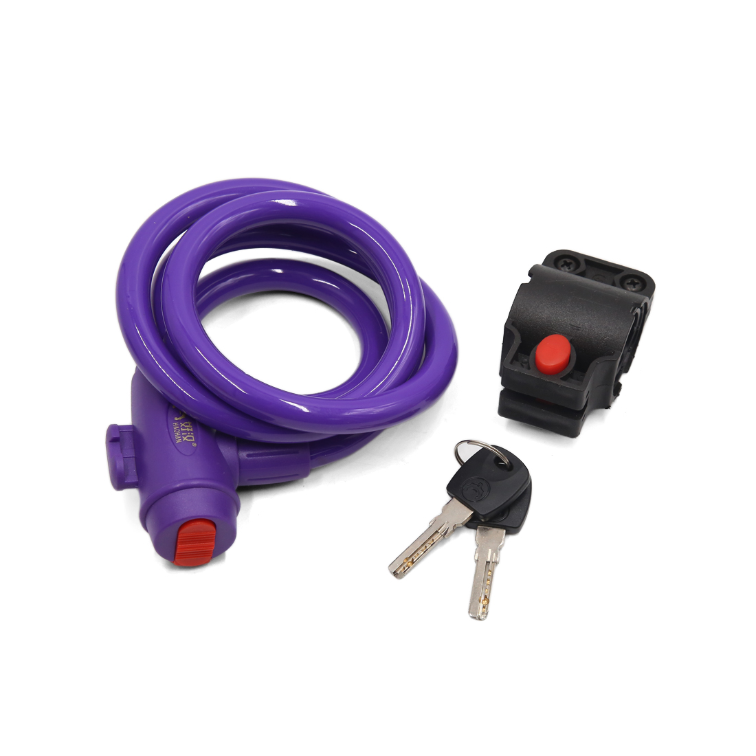 Universal Bike Bicycle Purple Anti Thief Safety Cable Wire Lock w 2 Keys