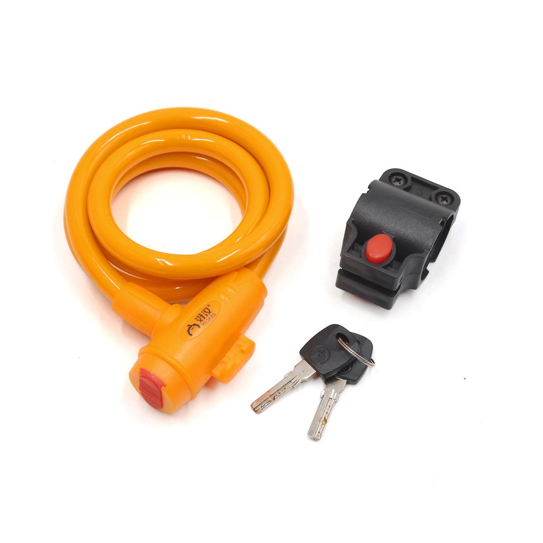 Universal Bike Bicycle Orange Anti Thief Safety Cable Wire Lock w 2 Keys