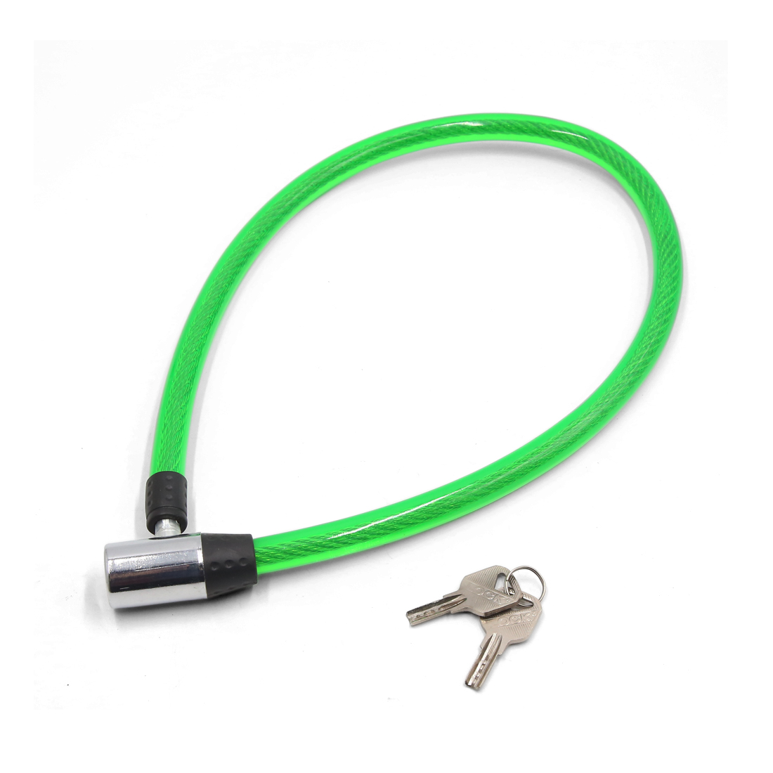 Motorcycle Green Anti Dust Safety Stainless Steel Cable Wire Lock w 2 Keys