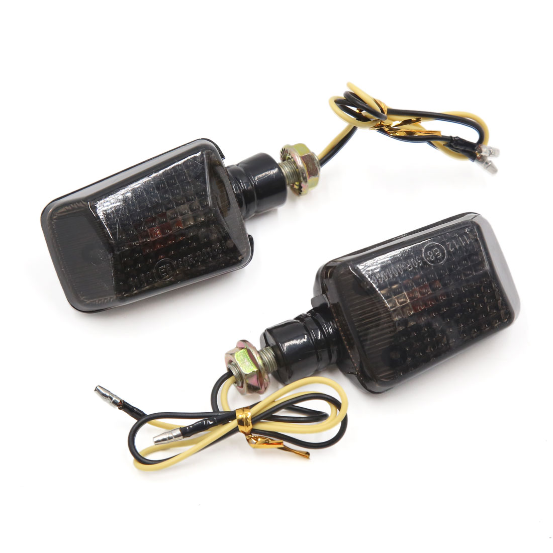 2pcs Yellow LED Rectangle Shape Turn Signal Blinker Light Indicator Lamp for Motorcycle