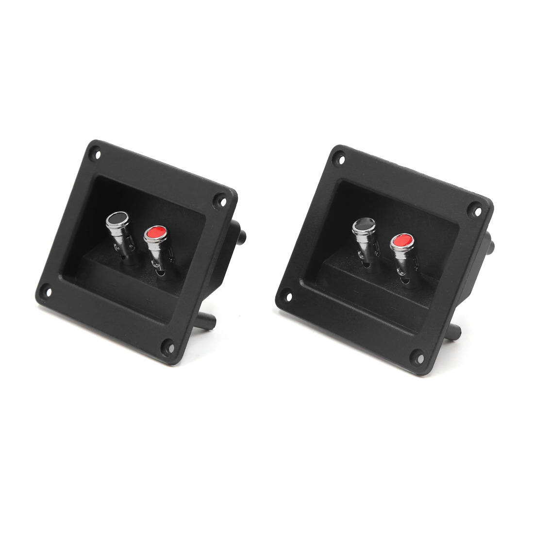 2Pcs Black Rectangle Car Audio Speaker Spring Binding Post Dual Terminal Connector Board