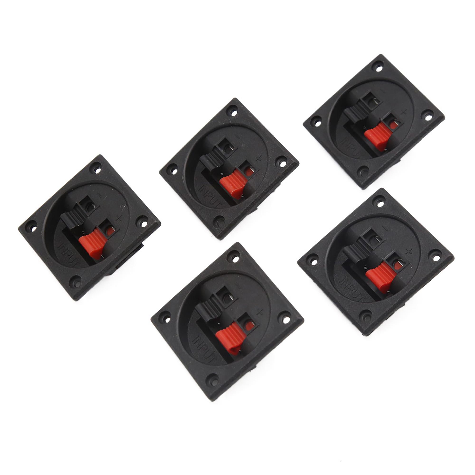 5Pcs Rectangle Car Audio Speaker Push Spring Clip Binding Post Dual Terminal Connector Board
