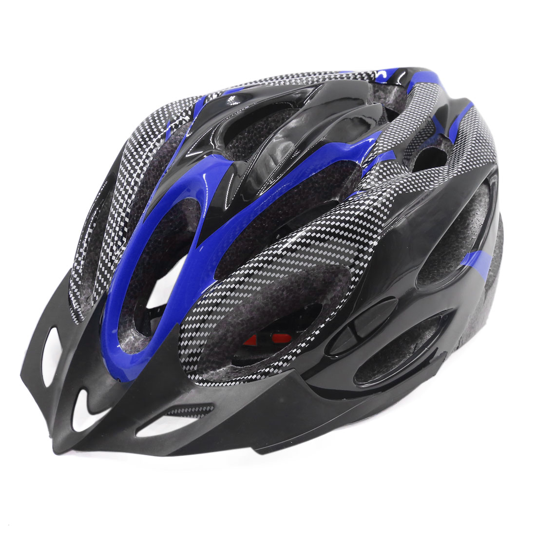 Carbon Fiber Pattern Adjustable Outdoor Bicycle Road Bike Helmet Blue Black