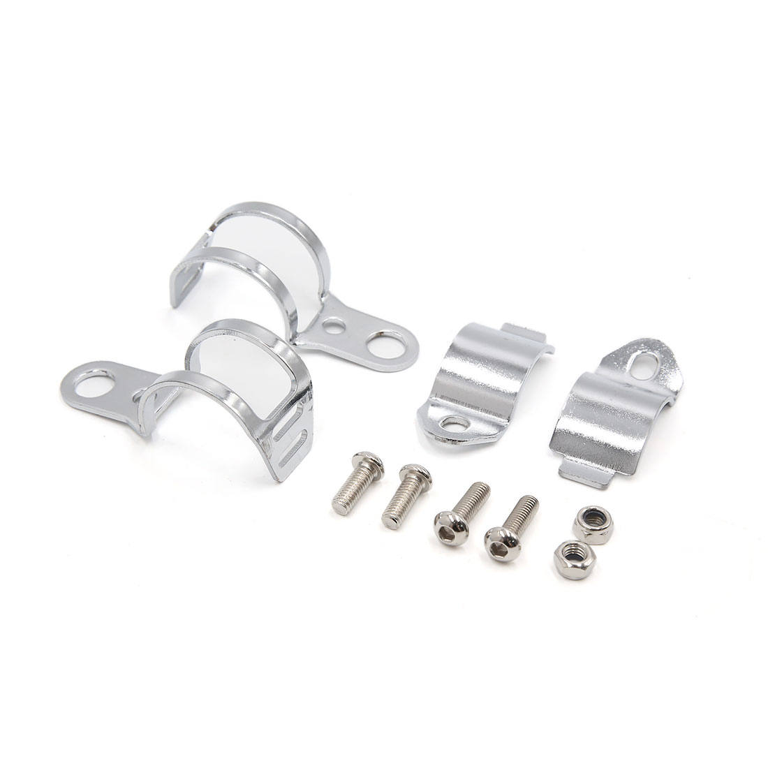 2Pcs Silver Tone Turn Signal Light Lamp Fork Clamp Mount Holder Bracket for Motorcycle