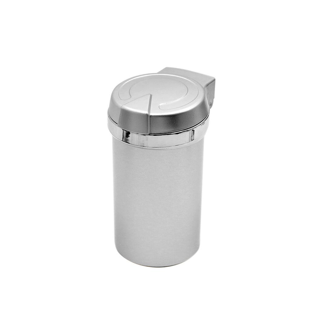Portable Silver Tone Cylinder Shaped Blue LED Light Car Ashtray Cigarette Ash Holder