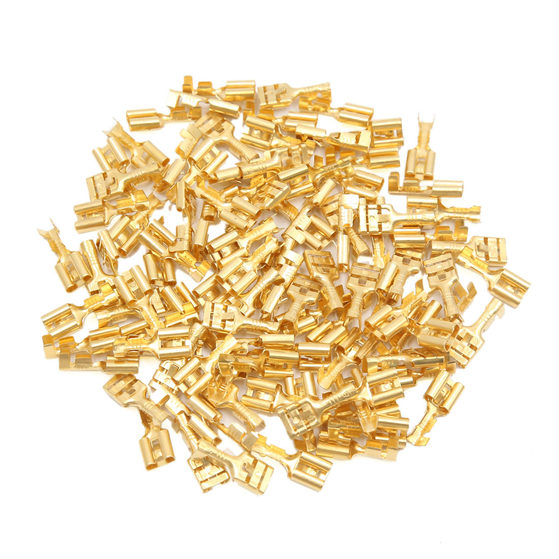 100pcs Electronic Components 8mm Width Female Spade Terminals Gold Tone