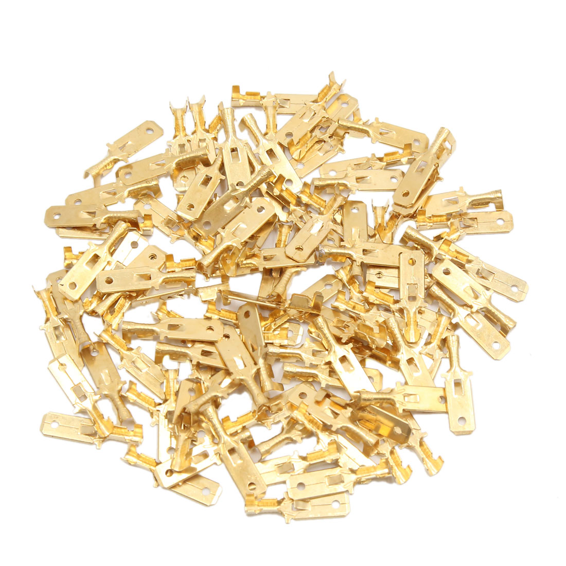 100pcs Gold Tone Female Spade Terminals Connectors for Car Automobile