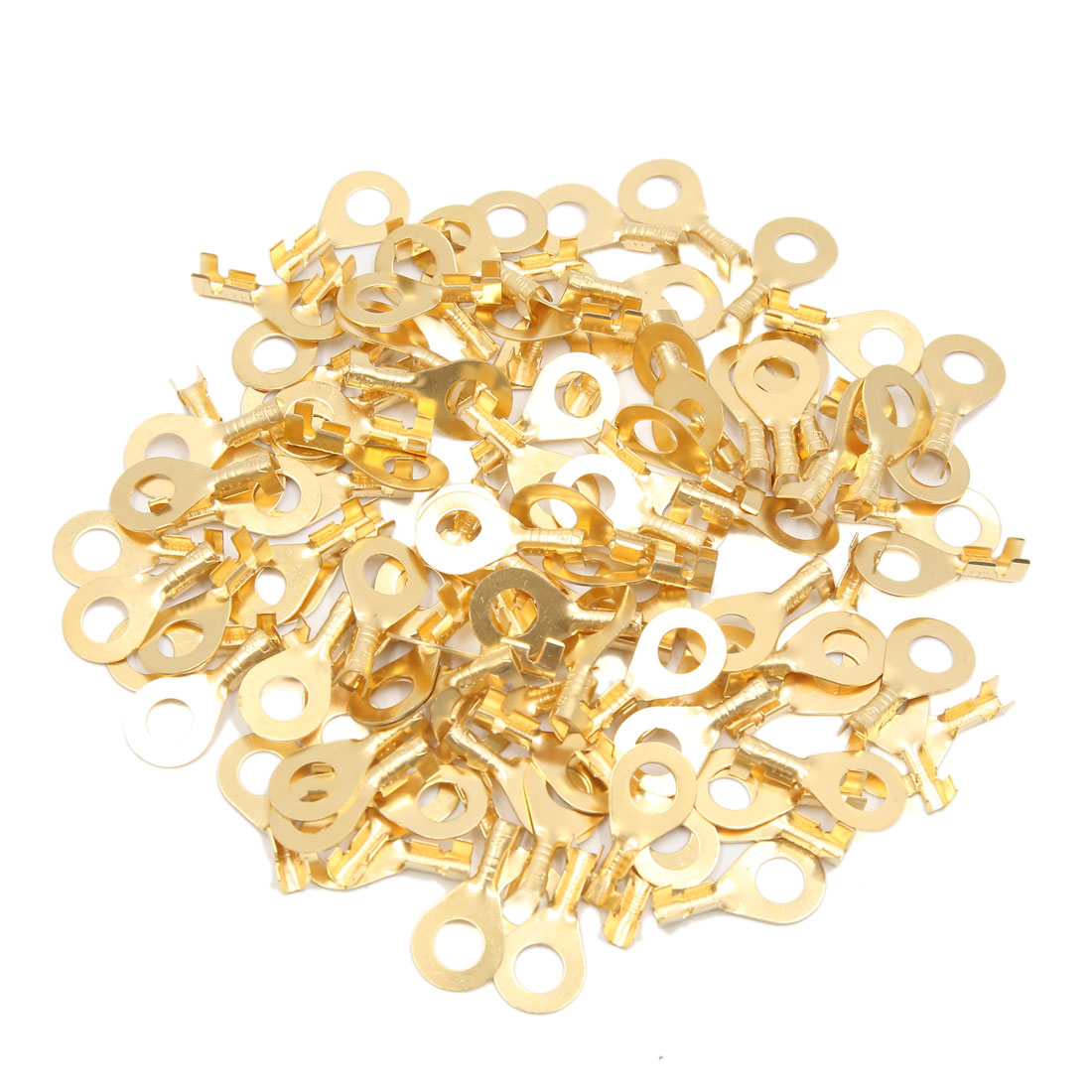 100pcs Gold Tone 7mm Dia Ring Electrical Wiring Connector Terminal for Car